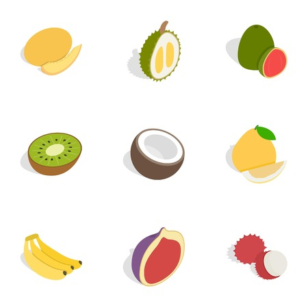Tropical fruits icons, isometric 3d style
