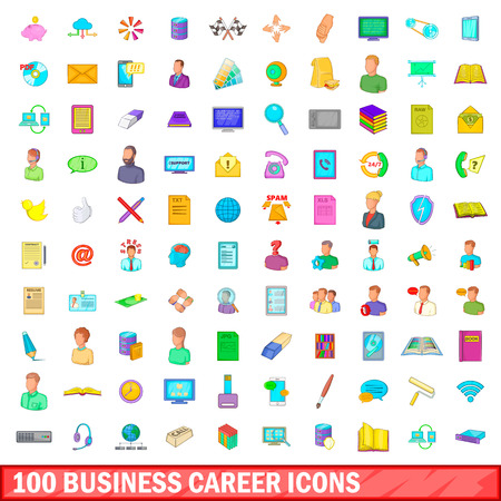 100 business career icons set, cartoon style Illustration