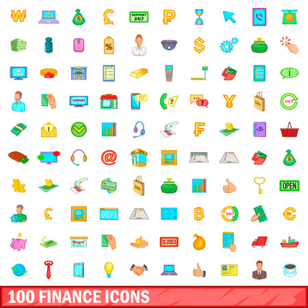 100 finance icons set in cartoon style for any design vector illustration