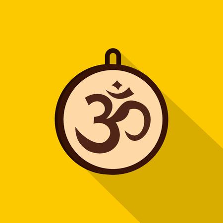 Hindu Om symbol icon, flat style