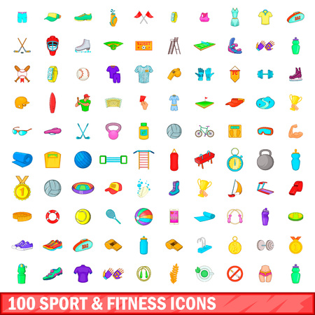 100 sport and fitness icons set, cartoon style Illustration