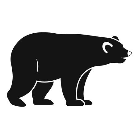 colorado rocky mountains: Wild bear icon, simple style