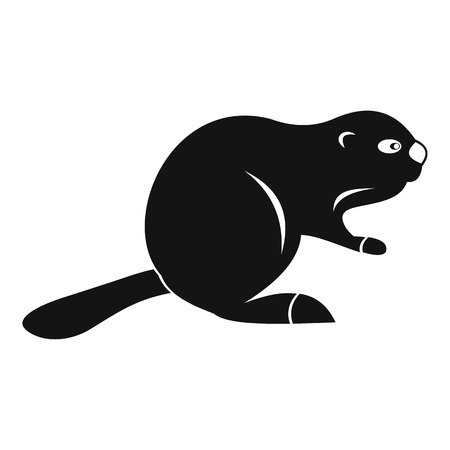 Canadian beaver icon, simple style