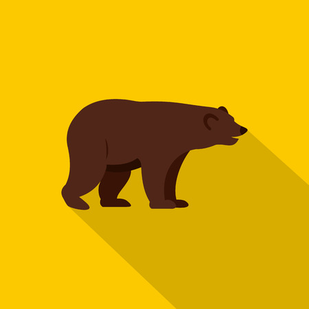 colorado rocky mountains: Grizzly bear icon, flat style