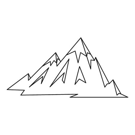 Mountains icon, outline style