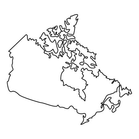 Map of Canada icon, outline style Illustration