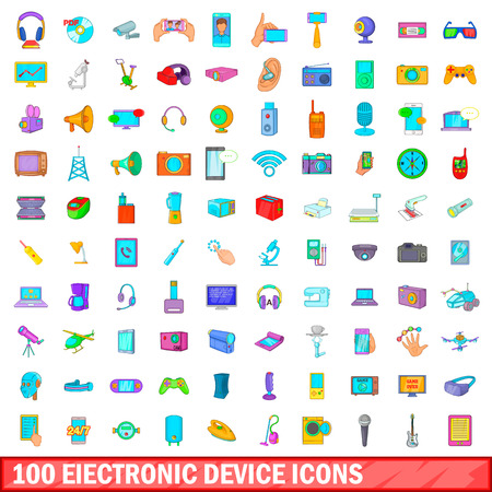 electronic device: 100 electronic device icons set, cartoon style