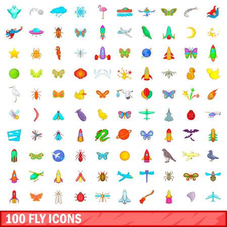 100 iconos de mosca conjunto, estilo de dibujos animados