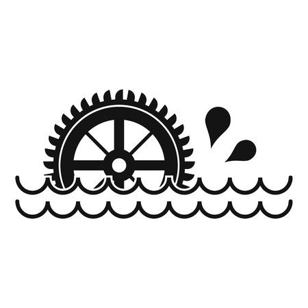 watermill: Waterwheel icon, simple style Illustration