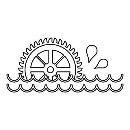 watermill: Old water wheel icon, outline style Illustration