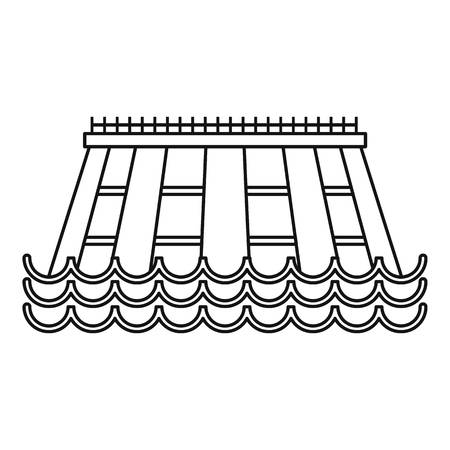 turbin: Hydroelectric icon, outline style Illustration
