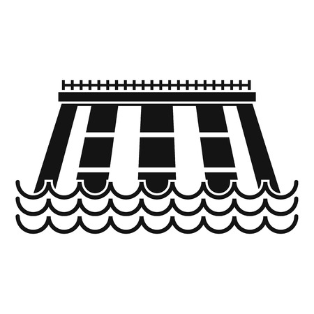 turbin: Hydroelectric power station icon, simple style Illustration