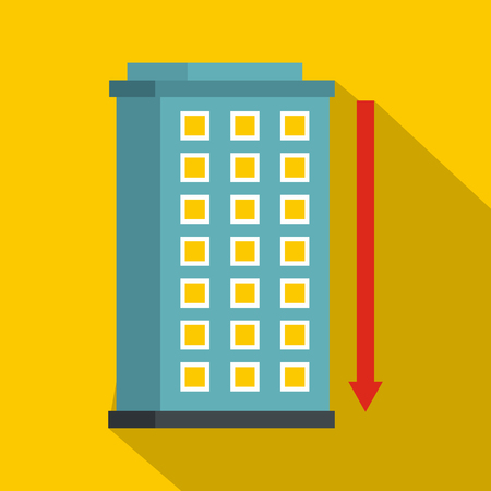 investment real state: Building and red down arrow icon, flat style