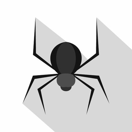 latrodectus: Black spider icon, flat style
