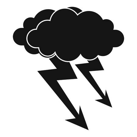 Lightning cloud icon, simple style Illustration