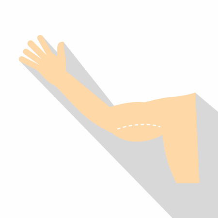 Plastic surgery of arm icon, flat style