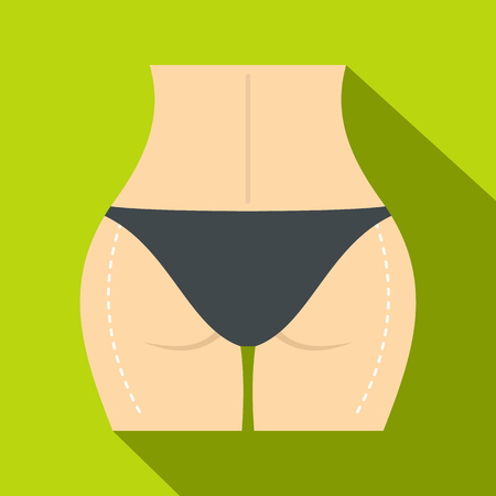 Woman buttocks marked on hips icon