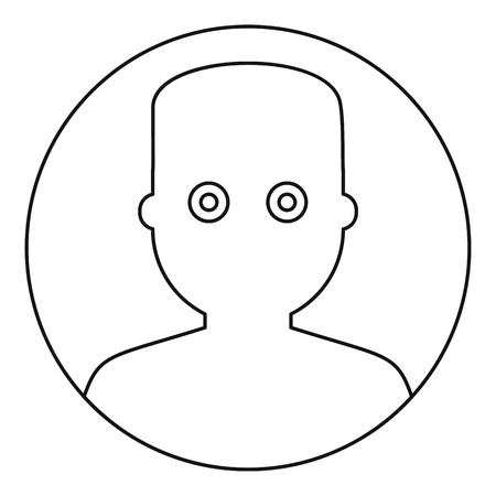 wide eyed: Man face with wide eyed icon, outline style Illustration