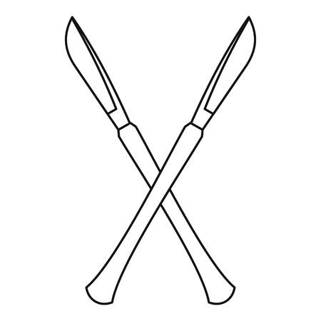 Crossed surgeon scalpels icon, outline style