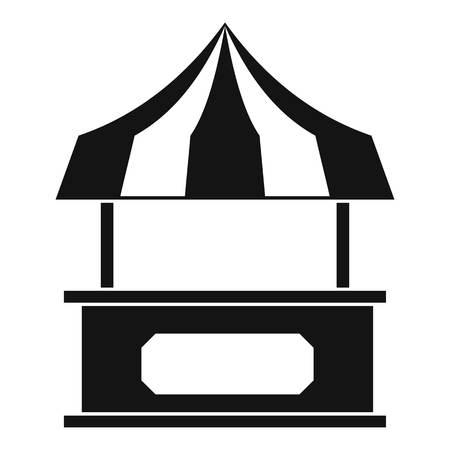 Store Kiosk mit gestreiften Markise-Symbol, einfache Stil