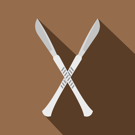scalpels: Crossed scalpels icon, flat style