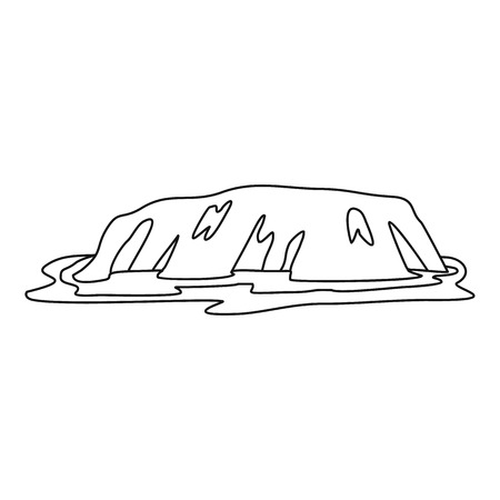 new zealand landscape: Cliff icon, outline style