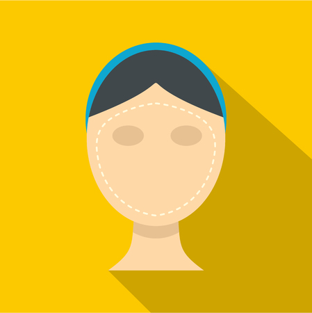 wrinkly: Woman face ready for cosmetic surgery icon