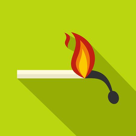 ablaze: Burning match icon, flat style