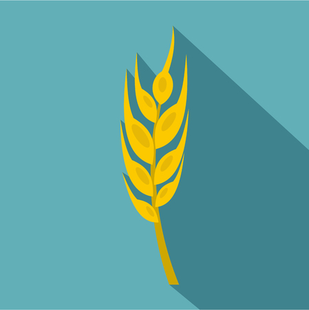 the spikes: Barley spike icon, flat style Illustration