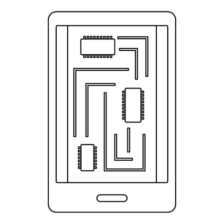 innards: Phone innards icon, outline style Illustration