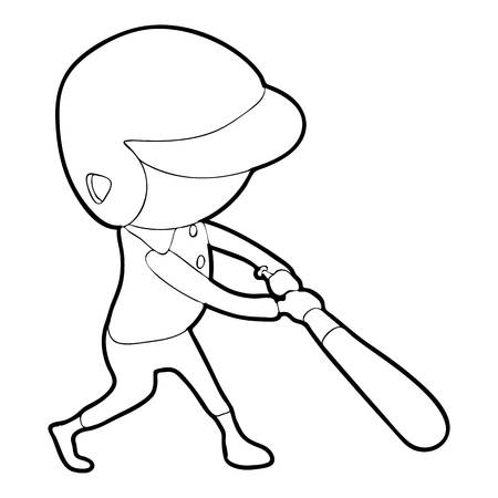 ballplayer: Baseball player icon, outline style