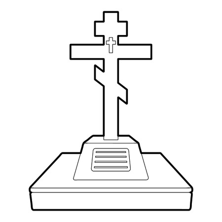 grave: Christian grave icon, outline style