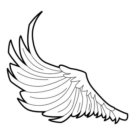 seraphic: Bird big wing icon, outline style