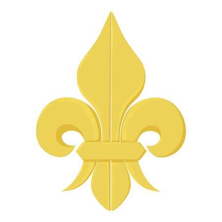 royal french lily symbols: Fleur de lis icon, cartoon style