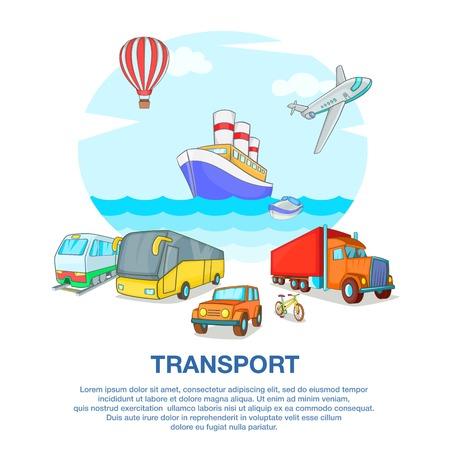 mode of transport: Types of transport concept, cartoon style Illustration