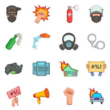 revolt: Protest items icons set, cartoon style