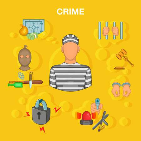 Crime accident concept, cartoon style