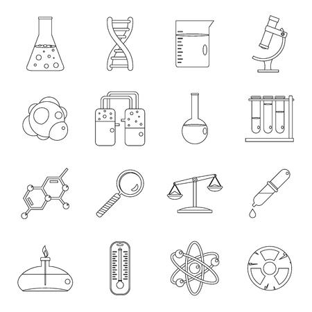 Conjunto de iconos de laboratorio químico, estilo de esquema