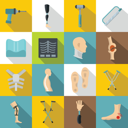 Orthopedics prosthetics icons set, flat style Illustration