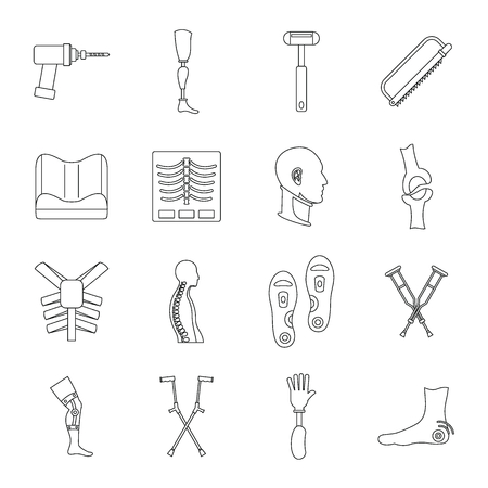 orthopedics: Orthopedics prosthetics icons set, outline style