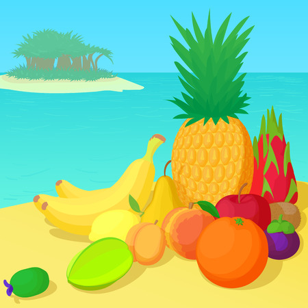 Fruits collection concept, cartoon style
