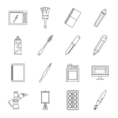 herramientas de trabajo: Diseño y herramientas de dibujo conjunto de iconos, estilo de esquema
