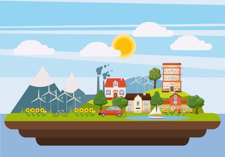 Ecology landscape iland concept, cartoon style Vektorové ilustrace