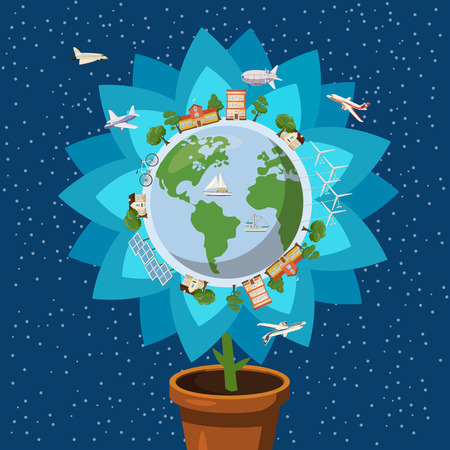 Globe gently flower ecology concept, cartoon style Illustration