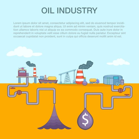 Oil industry cycle concept, cartoon style