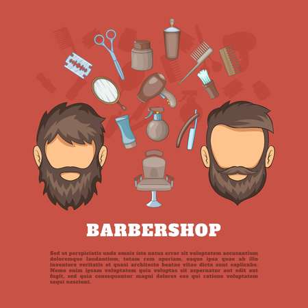 haircutting: Barbershop tools concept, cartoon style