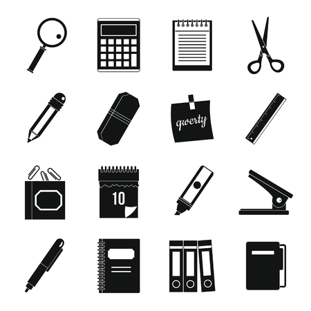 paper punch: Stationery symbols icons set, simple style