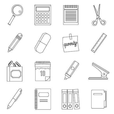 Stationery symbols icons set, outline style