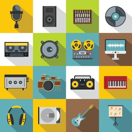 Recording studio items icons set, flat style Illustration