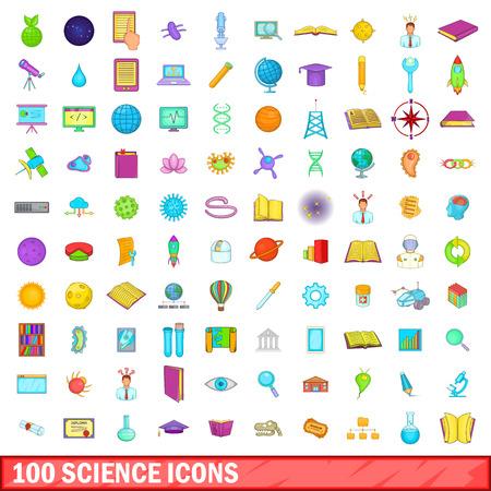 chemic: 100 science icons set, cartoon style
